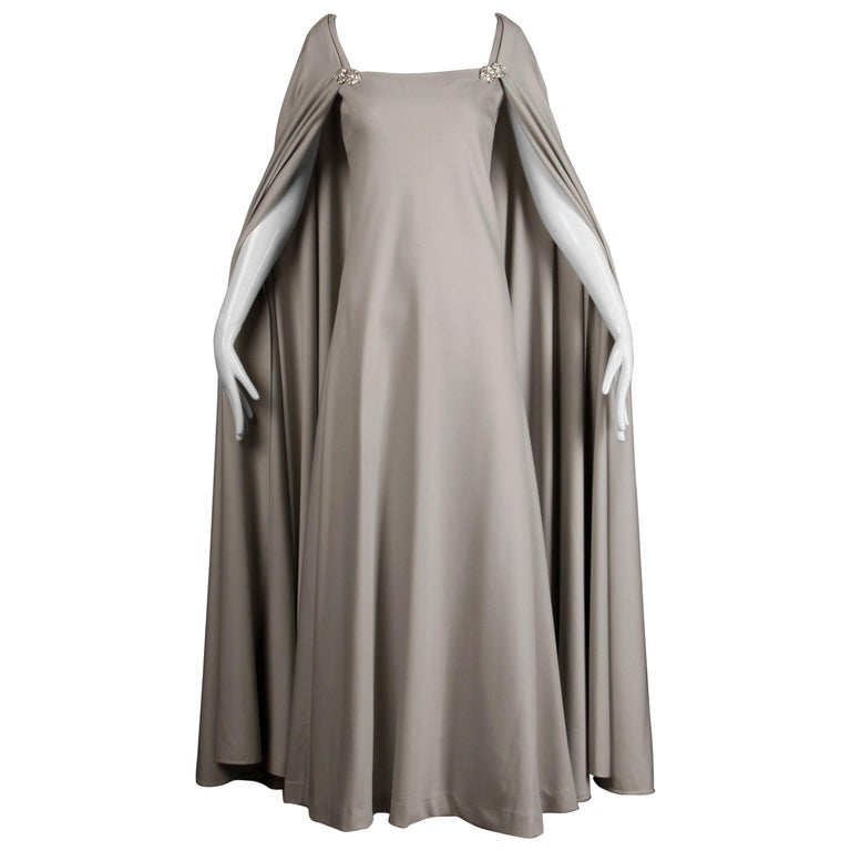 1970s Rona Vintage Gray Jersey Knit Dress/ Gown with Detachable Rhinestone Cape For Sale