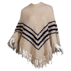 1970s Roos Atkins Vintage Wool Knit Sweater Poncho or Cape with Fringe + Stripes