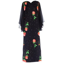 1970's Rose Print Maxidress w/ Chiffon Sleeves