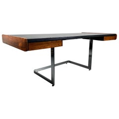 1970s Rosewood and Leather Desk on Floating Chrome Base by Ste. Marie Laurent