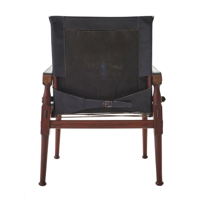 Campaign 1970s Rosewood and Leather M. Hayat & Brothers Pakistani Safari Chair