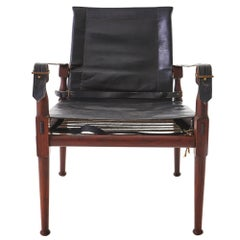 1970s Rosewood and Leather M. Hayat & Brothers Pakistani Safari Chair