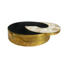 1970s Round Brass Box with Black Stone and Shell Lid