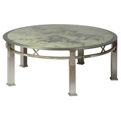1970s Round Coffee Table in Chromed Metal and Acid-Worked Glass