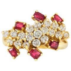1970s Diamonds and Rubies Ring