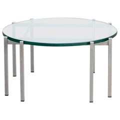 1970s Round Metal and Glass Design Coffee Table