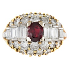 1970s Round Ruby and Baguette and Round Diamond Cut Ring