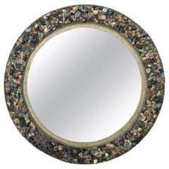 1970s Round Spanish Mirror with Lighted Stone Studded Iron Frame