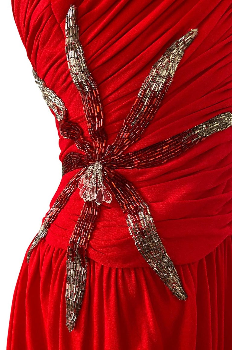 1970s Ruben Panis Red Jersey Halter Dress w Elaborate Side Beading For Sale 6