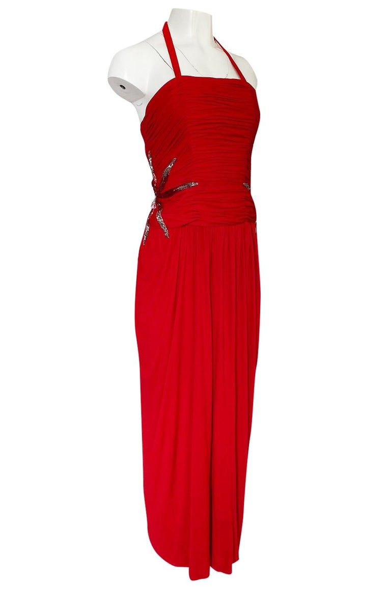 1970s Ruben Panis Red Jersey Halter Dress w Elaborate Side Beading In Excellent Condition For Sale In Rockwood, ON