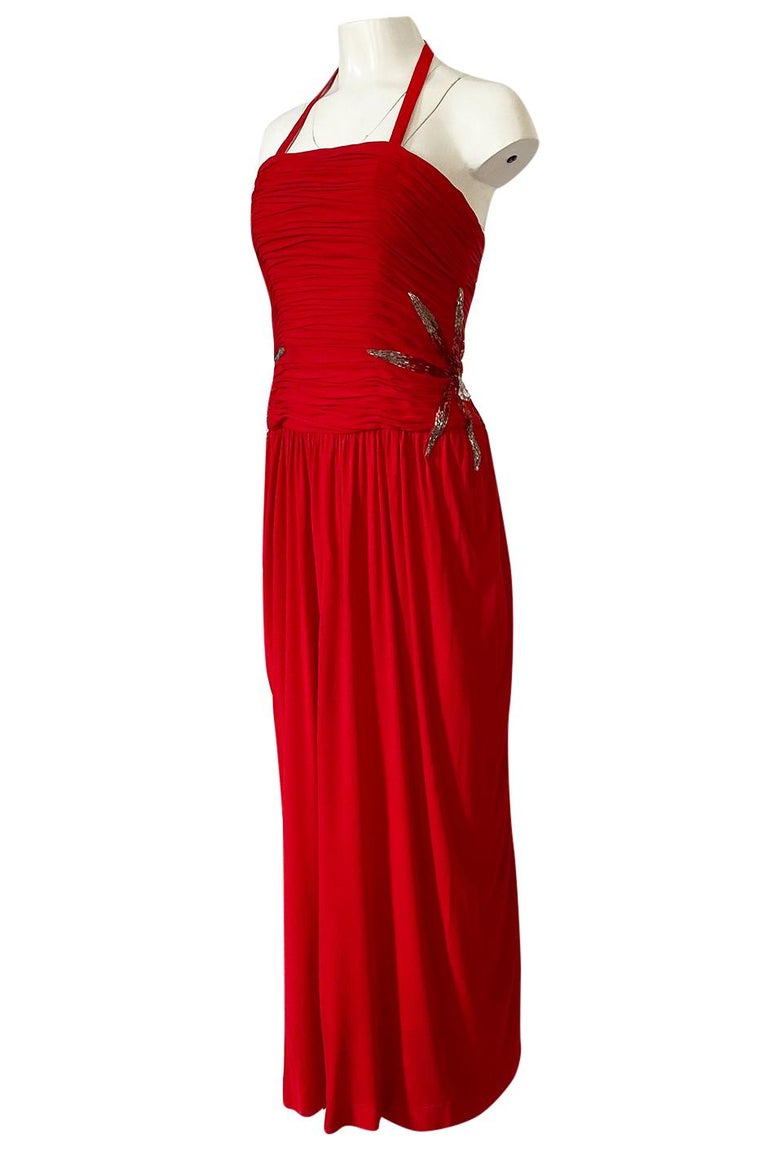 Women's 1970s Ruben Panis Red Jersey Halter Dress w Elaborate Side Beading For Sale