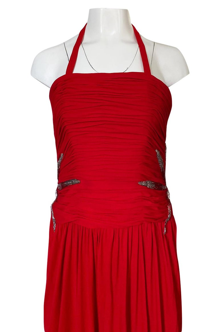 1970s Ruben Panis Red Jersey Halter Dress w Elaborate Side Beading For Sale 2