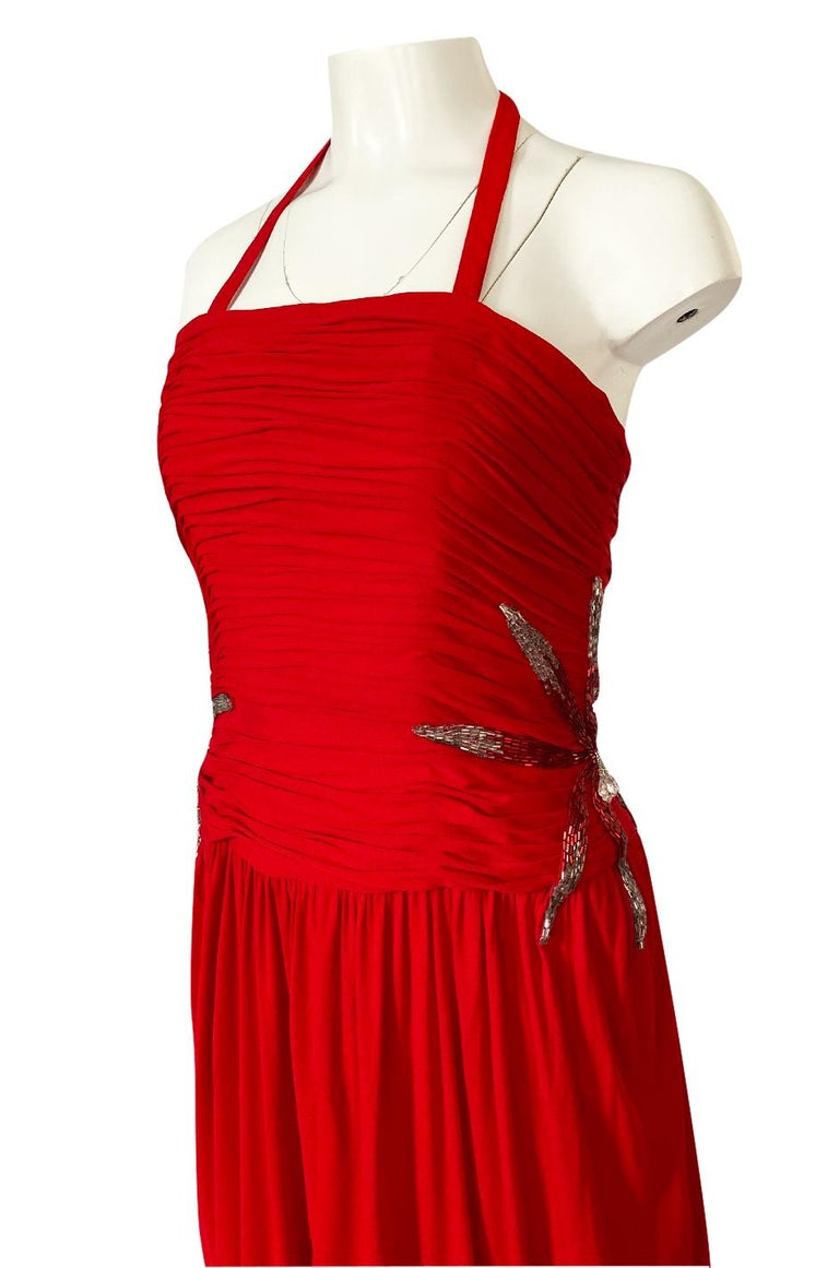 1970s Ruben Panis Red Jersey Halter Dress w Elaborate Side Beading For Sale 3