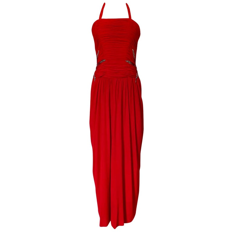 1970s Ruben Panis Red Jersey Halter Dress w Elaborate Side Beading For Sale
