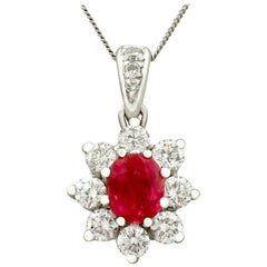 1970s Ruby and Diamond White Gold Pendant Vintage