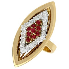 1970s Ruby and Diamond Yellow Gold Cocktail Ring