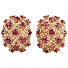 1970s Ruby Diamond 18 Karat Yellow Gold Dome Clip-On Earrings