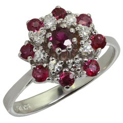 1970s Ruby Diamond White Gold Ring