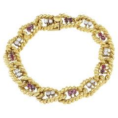 1970s Ruby Diamond Yellow Gold Link Bracelet