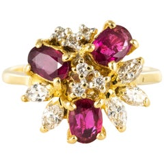 1970s Ruby Diamonds Asymmetrical Yellow Gold Cocktail Ring