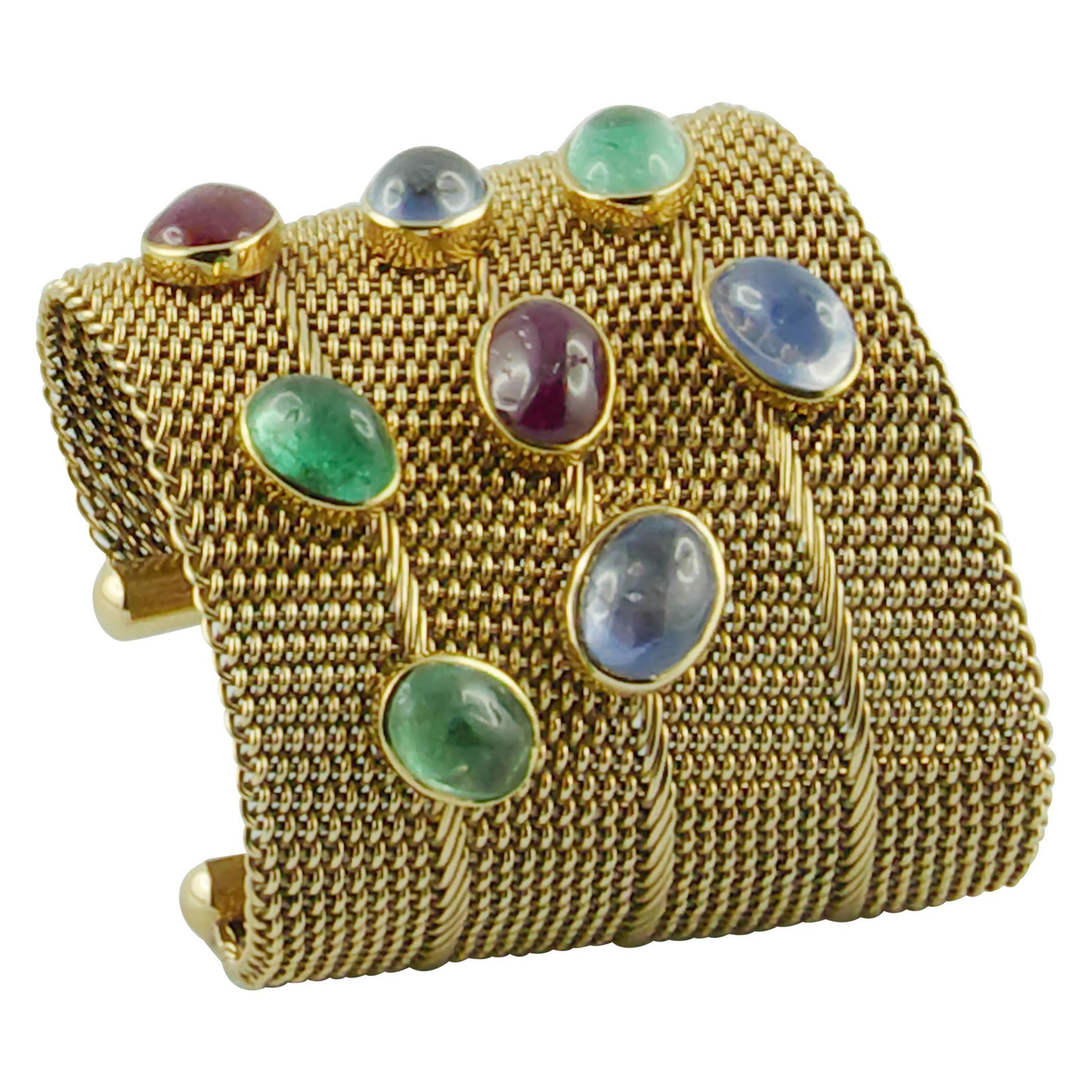 1970s Ruby Emerald Sapphire Yellow Gold Cuff