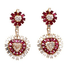 1970s Ruby Heart Diamond Gold Day and Night Chandelier Drop Clip-On Earrings