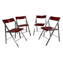 1970s Ruby Red Acrylic and Chrome Folding Chairs, Set of 4