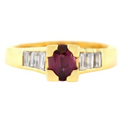 1970s Ruby Ring with Baguette Cut Diamonds Ring