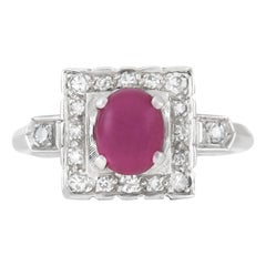 1970s Ruby Ring with Halo Setting