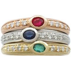 1970s Ruby, Sapphire, Emerald, Diamond Dress Ring