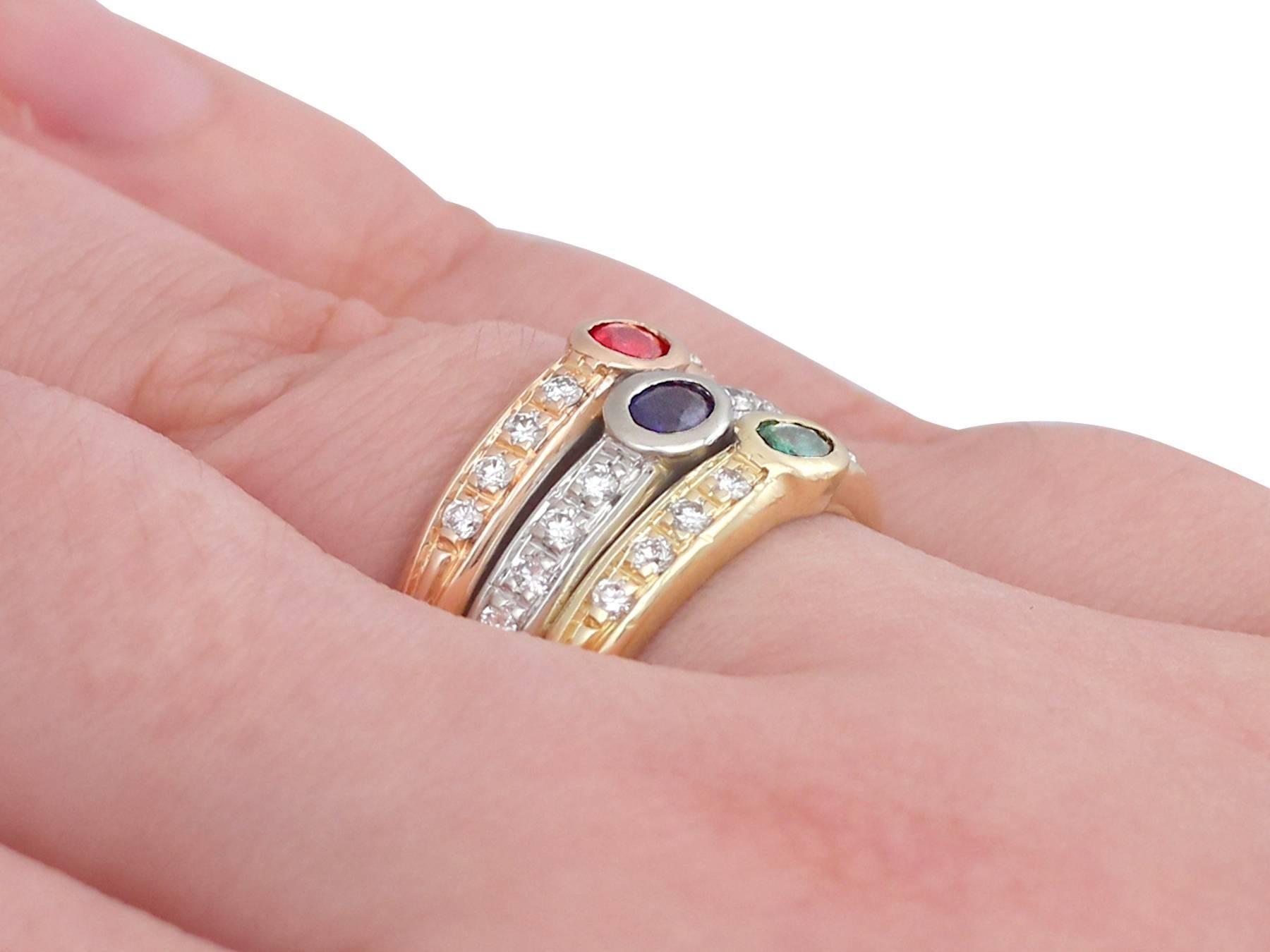 1970s Ruby, Sapphire, Emerald, Diamond and 18 Carat Gold Dress Ring ...