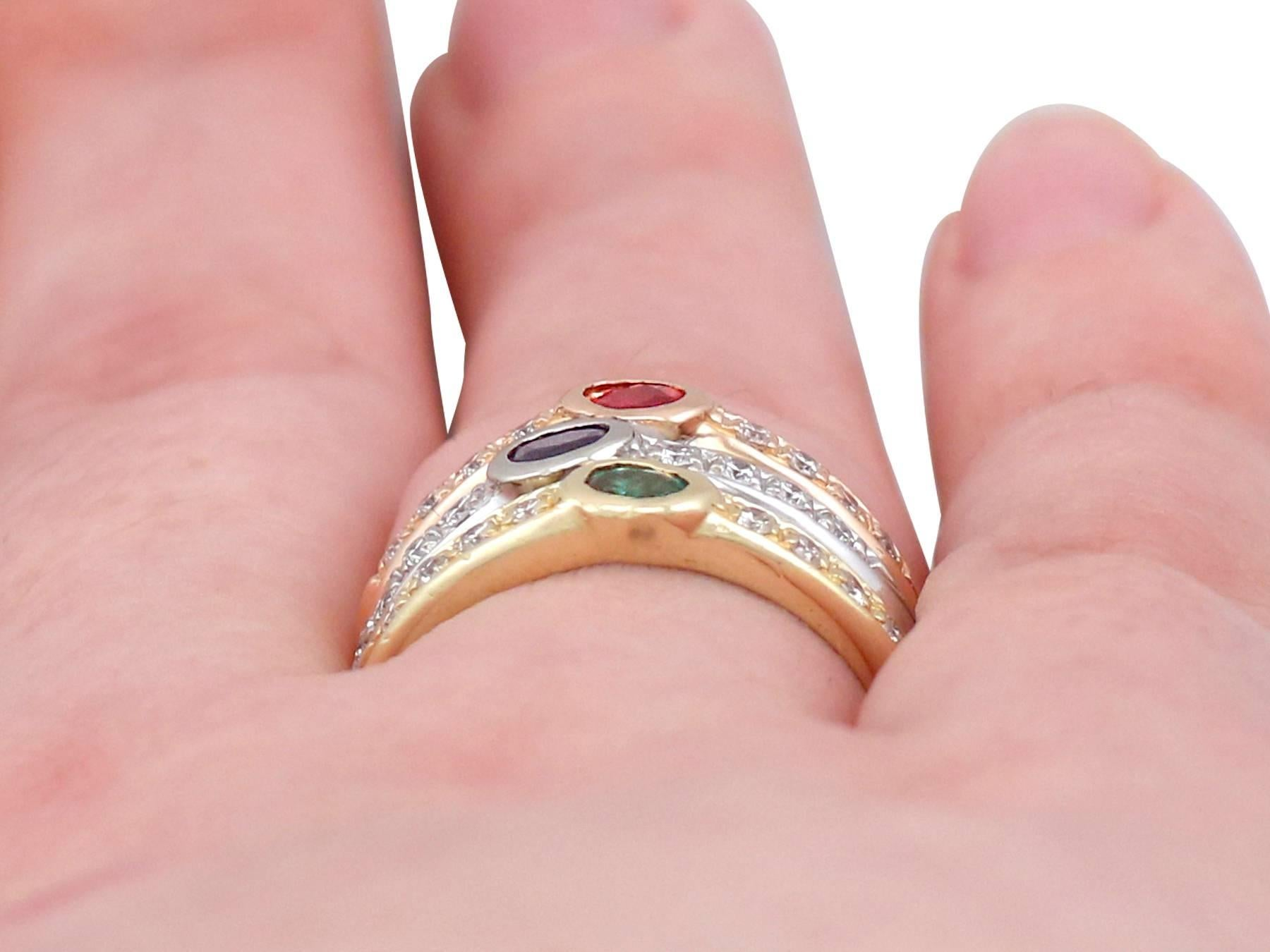 1970s Ruby, Sapphire, Emerald, Diamond and 18 Carat Gold Dress Ring ...