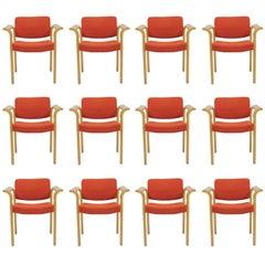 1970s Rud Thygesen, Johnny Sorensen Set of Twelve Armchairs - Inc. Reupholstery