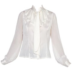 1970's Ruffled Bow Neck Blouse