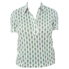 1970S Saks 5Th Ave Gucci Style Cotton Jersey Status Print Polo Top
