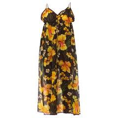 1970S Saks 5Th Ave Sheer Nylon & Lace Drawstring Empire Waist Negligee Slip Dres