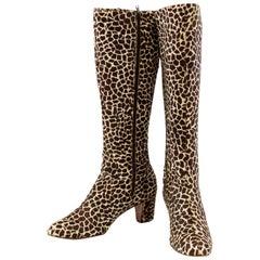 1970s Saks 5th Avenue Giraffe Printed Pony Hair Knee High Boots