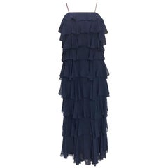 1970S SAKS 5TH AVENUE Navy Silk Chiffon Ruffled Gown