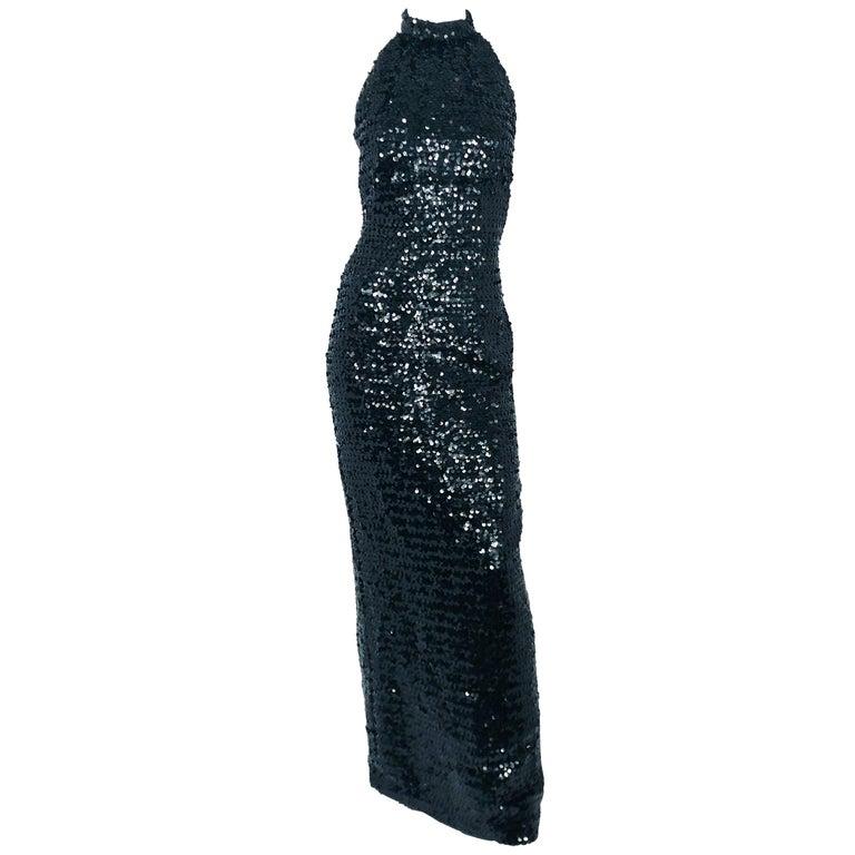 1970s Saks Fifth Ave Black Sequin Halter Top Dress For Sale At 1stdibs
