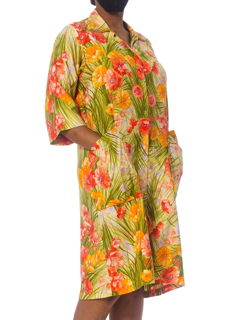 1970S SAKS FIFTH AVENUE Orange & Green Floral Cotton Sateen House Coat Dress With Patch Pockets