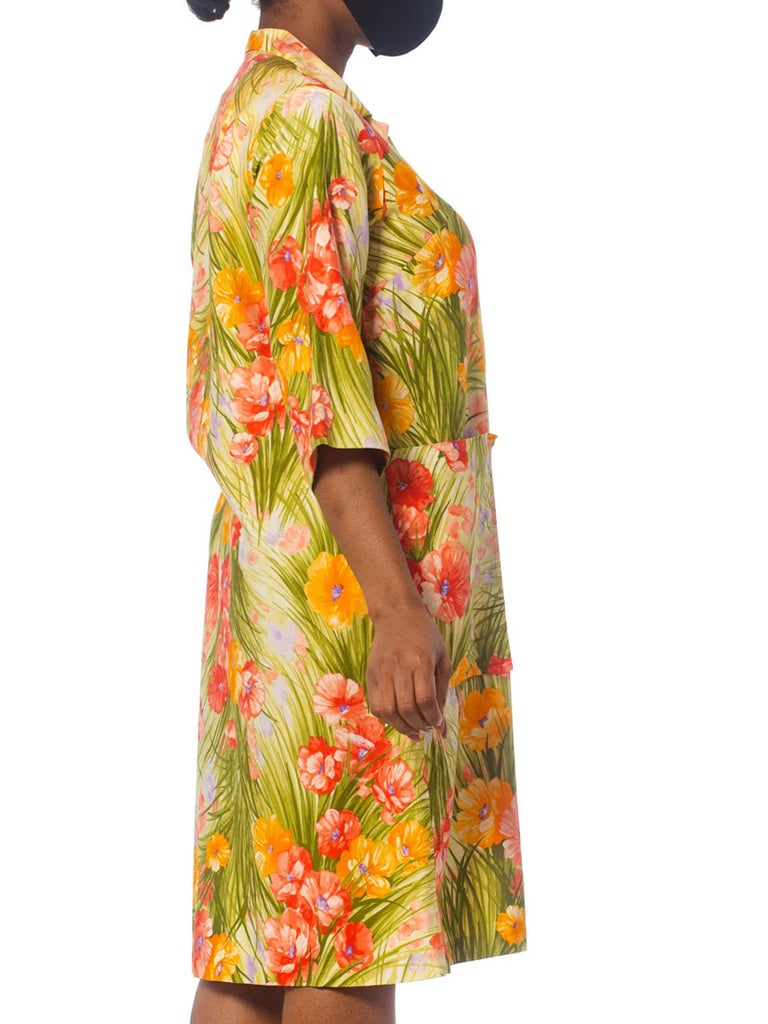 Brown 1970S SAKS FIFTH AVENUE Orange & Green Floral Cotton Sateen House Coat Dress Wi For Sale
