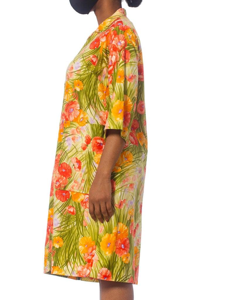 Women's 1970S SAKS FIFTH AVENUE Orange & Green Floral Cotton Sateen House Coat Dress Wi For Sale