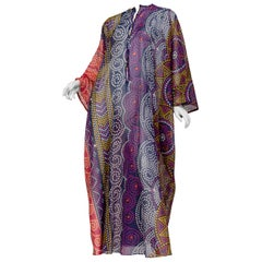 1970S SAKS Purple & Blue Polka Dot Polyester Chiffon Sheer  Kaftan