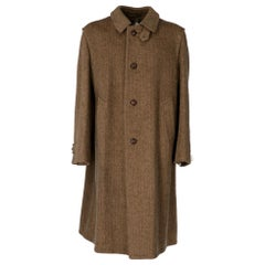 1970s Salko Loden Brown Herringbone Wool Coat