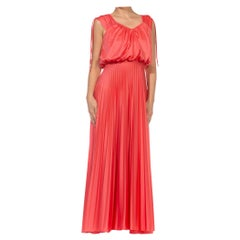 1970S Salmon Red Polyester Jersey Pleated Gown