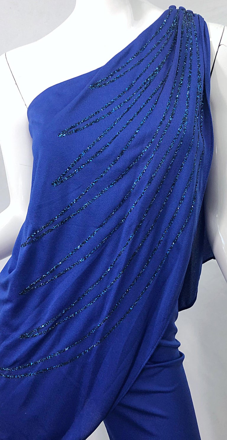 1970s Samir Blue Glitter One Shoulder Jersey Vintagae Grecian Disco Jumpsuit In Excellent Condition For Sale In Chicago, IL