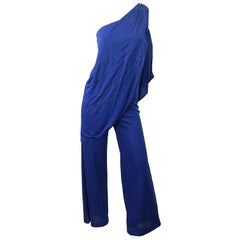 1970s Samir Blue Glitter One Shoulder Jersey Vintagae Grecian Disco Jumpsuit