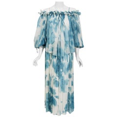 1970's Sant' Angelo Blue White Cloud Print Chiffon Dress & Off-Shoulder Blouse