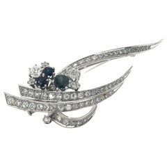 1970s Sapphire and Diamond Brooch in White Gold