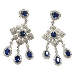 1970s Sapphire and Diamond Drop Earrings